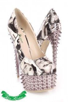 Black White Printed Pump High Heels Patent...⊰⊹✿ ..  http://www.amiclubwear.com/shoes-booties/page/4/show/96.html