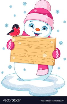 "Buy the royalty-free Stock vector ""Snowman holding wooden sign"" online ✓ All rights included ✓ High resolution vector file for print, web & Social Media. Christmas Colors, Christmas Art, Christmas Decorations, Christmas Ornaments, Snowman Clipart, Christmas Clipart, Christmas Drawing, Christmas Paintings, Nail Art Noel"