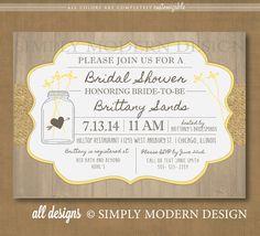 rustic bridal shower invitation, PRINTABLE