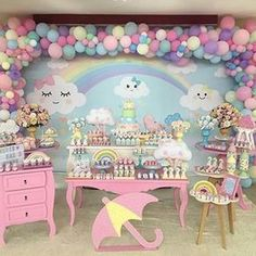 from - Chuva de amor 💕 para Alice. Baby Girl Shower Themes, Baby Shower Princess, Baby Girl 1st Birthday, 1st Birthday Parties, Cloud Party, Cinderella Birthday, Baby Party, Unicorn Party, Birthday Decorations