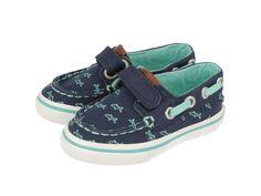 Joe / Zapatillas náuticas de bebé en azul marino con cierre de velcro y detalles en turquesa. Corte y forro en textil. Zapatos náuticos de bebé en azul marino con estampado de tiburones.