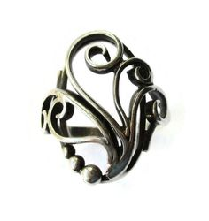 SOLD. Vintage Denmark ring, 830 silver foliage spirals and tendrils and beads, openwork Art Nouveau style, Scandinavian silver, Danish ring. https://www.etsy.com/listing/269491964/vintage-denmark-ring-830-silver-foliage