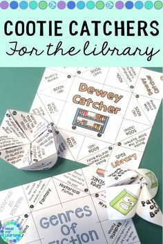 Library Skills Cootie Catchers and Fortune Tellers for School Media Centers - Library Center Activities - Education Library Games, Library Skills, Library Activities, Library Books, Library Science, Reading Activities, School Library Displays, Middle School Libraries, Elementary School Library