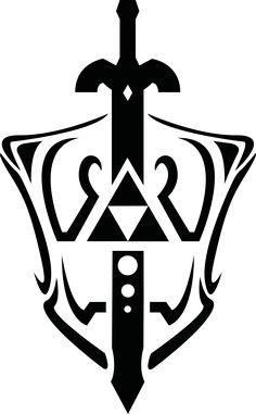 Triforce and Master Sword by Dassutran on DeviantArt Shield Tattoo, Sword Tattoo, Dream Tattoos, Body Art Tattoos, Tatoos, Legend Of Zelda Tattoos, Tribal Cross Tattoos, Zelda Birthday, Gamer Tattoos