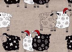 Moutons de Noël - Idées pour Noël, moitié lin imprimé Tissu pour Noël : Tissus à thème par cadeaux-linge