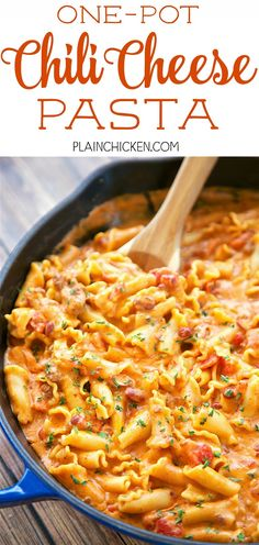 One Pot Chili Cheese Pasta - everything cooks in the same skillet, even the pasta!! Canned chili, cream cheese, diced tomatoes, chicken broth, pasta, garlic, chili powder and cheddar cheese. Everyone cleaned their plate! So quick and easy to make. Ready i