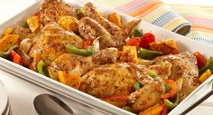 When you're juggling afterschool activities and dinner, you'll appreciate meals that require minimal prep and clean-up. This one-dish roasted chicken and vegetables fits the bill perfectly. Roasted Vegetables With Chicken, Herb Roasted Chicken, Baked Chicken, Roast Chicken, Grilled Chicken, Herb Chicken Recipes, Vegetable Recipes, Cooking Recipes, Healthy Recipes