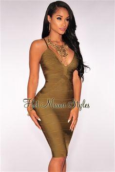d27a373e1d11 Olive Crisscross Bandage Dress Clubwear Dresses