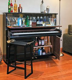 Piano Bar - Better Homes and Gardens I so want to do this with one of the crappy pianos at school and raffle it off! I think we could make a lot of money!!!!
