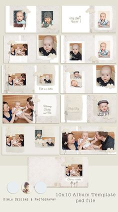 10x10 Cute as a button boy WHCC Album Template psd by KimlaDesigns, $26.99