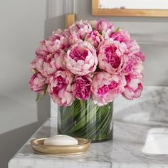 Faux Magenta & Pink Peony Floral Arrangement in Glass Vase - Peonies Rosen Arrangements, Peony Arrangement, Peonies Centerpiece, Rose Centerpieces, Artificial Flower Arrangements, Artificial Flowers, Pink Flower Arrangements, Wedding Arrangements, Peonies And Hydrangeas