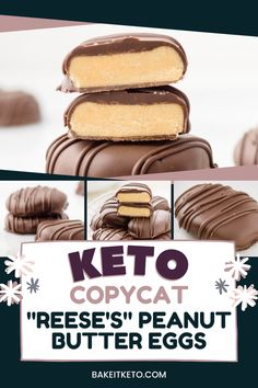 These healthy keto Reese's peanut butter eggs are so easy! I love having sugar free low carb candy to enjoy as a keto Easter treat recipe. Reese Peanut Butter Eggs, Low Carb Peanut Butter, Peanut Butter Filling, Homemade Peanut Butter, Peanut Butter Recipes, Keto Dessert Easy, Keto Desserts, Keto Friendly Ice Cream, Low Carb Candy