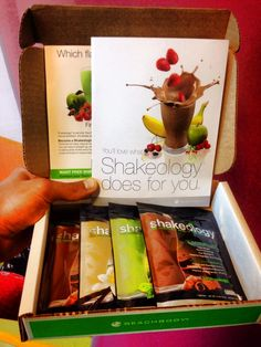 The Shakeology Taste Sampler: 2 chocolate, 1 vanilla, and 1 Greenberry