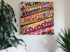 Acrylic, 36x36 inches, 2019  I recently grabbed some random candy bars at the checkout & realised that they all have a similar golden body colour, orange stripes highlights/stripes & cartoon cutaways.  Wonder where the design teams at Nestle, Cadbury & Hershey's get their ideas from...? Candy Bars, Stuff To Do, Highlights, Stripes, Cartoon, Colour, Orange, Random, Ideas