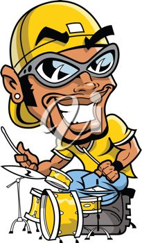 Royalty Free Clipart Image of a Drummer