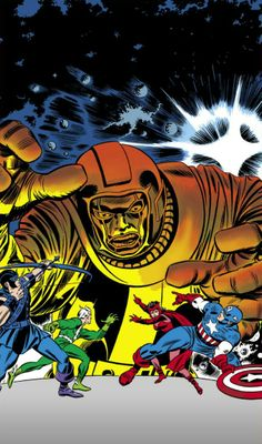 The Avengers vs Kang the Conqueror,art by Jack Kirby and John Romita.