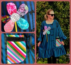L-PLUS Striped Blue Black Satin Dress with handmade colorful flower,loose fit Bell sleeves Upcycled, colorful pocket,lots of polka dots bows Black Satin Dress, Satin Dresses, Red Sunset, Crazy Patchwork, Loose Fitting Tops, Colorful Flowers, Blue Stripes, Upcycle, Bell Sleeves