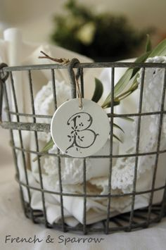 Vintage French Monogram Clay Gift Tags - Set of Three Metal Baskets, Linens And Lace, Letter B, Salt Dough, Home And Deco, French Decor, French Vintage, Decorative Items, Gift Tags