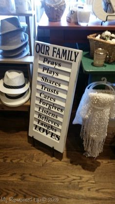 How to make a family rules sign using an upcycled shutter and some vinly lettering. This medium sized plantation shutter was the perfect size for a sign.