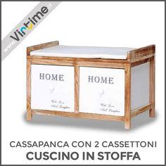 """Cassapanca 2 cassettoni in Legno e cuscino in stoffa bianca. Disponibile in 2 Versioni: struttura Bianca/cassetti Rovere Sbiancato o struttura Rovere Sbiancato/cassetti Bianchi. Cassetti con stampa """"Home"""" e pomelli in legno. Dimensioni: 46x68x38 cm Ref.: S33675/10 Rovere Ref.: S33675/20 Bianco  #Virtime #VirtimeHome #Italy #italianfurniture #buyfurniture #design #tools #home #house #creative #homeart #colorful #detail #decoration #nofilter #unique #furniture #wood #materials #nature"""
