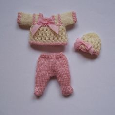 OOAK Handmade knitted outfit for miniature baby doll #RB215