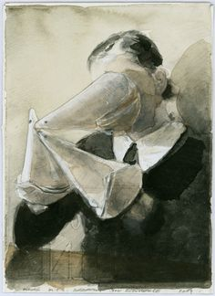 "Michaël Borremans, ""The Reference"" (2007), Pencil and watercolor on paper, 12,5 x 9,0 cm"