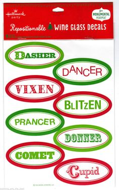 Hallmark Santa's Reindeer Names Repositionable Wine Glass Decals FREE SHIPPING #Hallmark