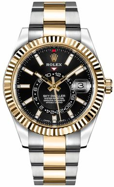 Rolex Sky-Dweller Black Dial Men's Watch 326933 Rolex Watches For Men, Luxury Watches For Men, Cool Watches, Wrist Watches, Casual Watches, Black Rolex, Gold Rolex, Diamond Rolex, Cheapest Rolex