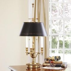 Two-light antiqued solid brass lamp, adjustable round black-finished brass shade with hand-painted antiqued gold border, max. 60 watts each bulb, UL approved. 1 in stock Home Office, Office Lamp, Office Decor, Modern Interior, Home Interior Design, Modern Decor, Deco Luminaire, Black Table Lamps, Curved Glass
