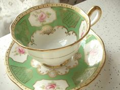 Antique 1920's hand painted tea cup set, vintage Royal Albert green tea cup and saucer, pink roses English tea set, green gold china cup