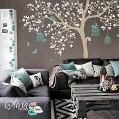Large Tree Vinyl Wall Decal with Birds Mural por theOliviaDesign