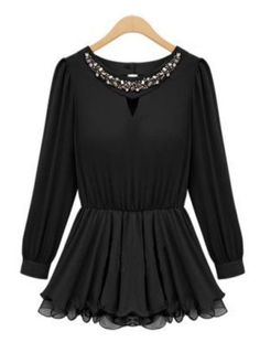 Black Long Sleeve Rhinestone Pleated Chiffon Dress US$23.28