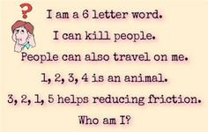 Who am I : I can kill people Tricky Questions, This Or That Questions, 6 Letter Words, Test Your Iq, Things To Do When Bored, Fun Things, Hard Puzzles, Watch Youtube Videos, Brain Teasers