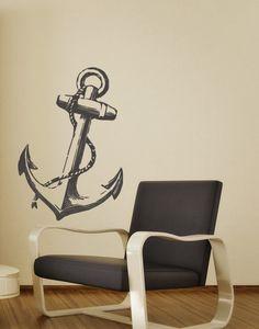 Anchor Decor Wall Decal Nautical Home Beach Decor Ship Boat Anchor vinyl wall art sticker. $39.00, via Etsy.