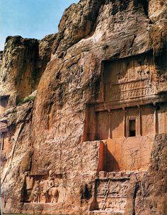 Tomb of Darius I, or Darius the Great, who reigned over the Persian Achaemenid Empire c. 550–486 BC.  Naqsh-e Rustam, near Persepolis, Iran.