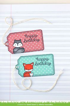 I have a lawn fawn project to share today, inspired by the tags found in * this * pin. Happy Birthday Tag, Birthday Tags, Lawn Fawn Blog, Lawn Fawn Stamps, Handmade Gift Tags, Paper Smooches, Scrapbooking, Card Tags, Creative Cards