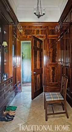 A French-polished, mahogany-paneled dressing room is fitting for the gentleman of this home. - Photo: Francis Hammond / Design: Mark Gillette