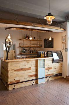 Céltorony / 2015 on Behance Céltorony / 2015 on Behance Coffee Shop Counter, Cafe Counter, Coffee Shop Bar, Coffee Bar Home, Rustic Coffee Shop, Small Restaurant Design, Deco Restaurant, Restaurant Interior Design, Small Cafe Design