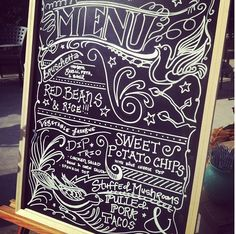 Menu for the day. Hand-written with a chalkboard marker. DIY wedding.