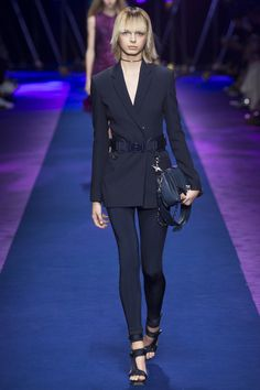 Versace Spring 2017 Ready-to-Wear collection. Navy Suit is AMAZING. New management for 2 seasons now show they are coming back full speed.