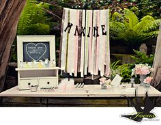 Vintage baby shower...make your own  perfume bar and ribbon banner.