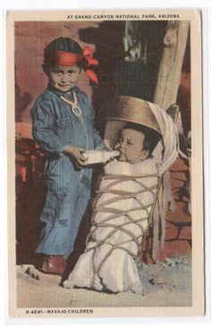 Navajo Native American Indian Children Baby by ThePostcardDepot