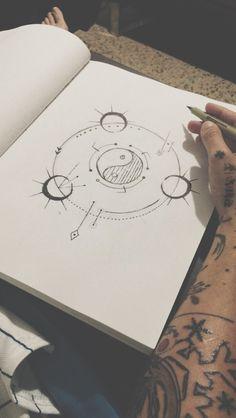 Alien Drawings, Cool Art Drawings, Art Sketches, Pencil Drawings, Simple Doodles, Aesthetic Drawing, Bullet Journal Ideas Pages, Mandala Drawing, Sketch Inspiration