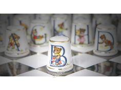 HAND-PAINTED FINE BONE CHINA THIMBLE - Teddy Bear Alphabet / Letter B