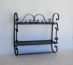 Black Wrought Iron Shelves WIth Towel Rack by Alveta on Etsy, $50.00