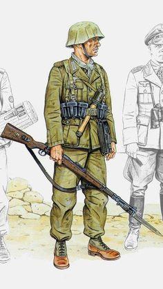 Deutsches AfrikaKorps - Tel el Aqqaqir (Egipto) - Octubre de 1942 - Unteroffizier, Panzerdivisión 21, Panzergrenadierregiment 115.
