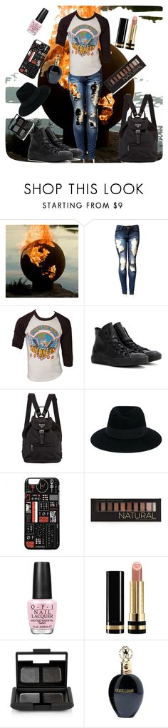 """""""Rock of the ages"""" by krisymel ❤ liked on Polyvore featuring Converse, Maison Michel, Forever 21, OPI, Gucci, NARS Cosmetics, Roberto Cavalli, band, rock and rockandroll"""