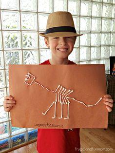 Dinosaur Bones made from Cotton Swabs Park Birthday, Dinosaur Birthday Party, 6th Birthday Parties, Boy Birthday, Birthday Ideas, Jurassic Park Party, School Age Activities, Bone Crafts, Dinosaur Crafts