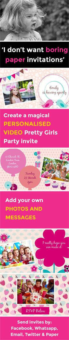Create a magical VIDEO party invitation - www.poshtiger.co Online Birthday Invitations, Girls Party Invitations, Invites, Girl Birthday Themes, First Birthday Parties, First Birthdays, Theme Ideas, Party Themes, Party Ideas