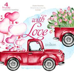 This set of high quality hand painted watercolor valentines trucks + watercolor backdrop Perfect graphic for wedding invitations, greeting cards, photos, posters, quotes and more. Item details: 5 PNG files. (300 dpi, RGB, transparent background) 4 trucks size (larger side) aprox.: 18